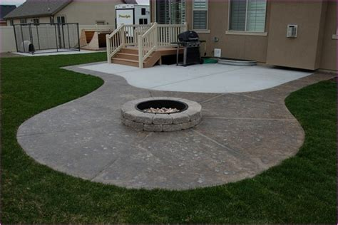concrete patio designs with pit lighting furniture