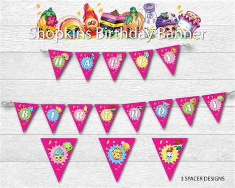 free printable shopkins happy birthday banner the banner the o jays and search on pinterest