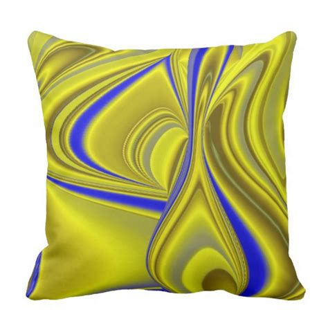 blue yellow pillows abstract in gold yellow blue throw pillow zazzle