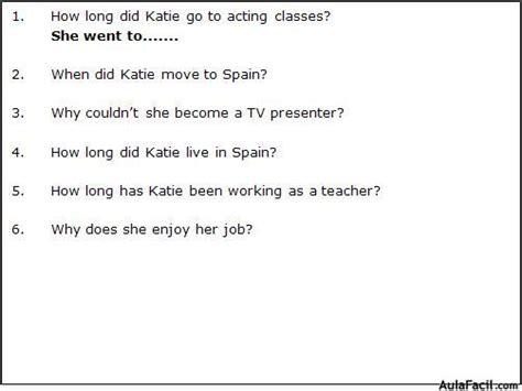 preguntas answer the following questions using complete sentences job ingl 233 s bajo intermedio con videos