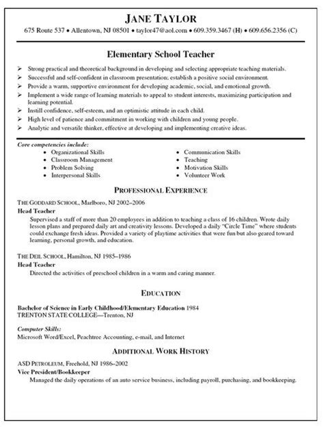 Elementary Resume Template by Elementary Resume Templates Resume