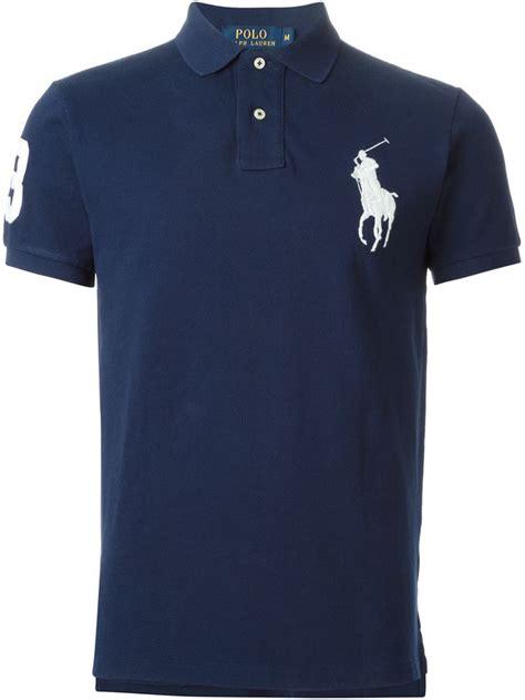 Kaos Seven Polo Logo 1 lyst polo ralph logo cotton polo shirt in blue for