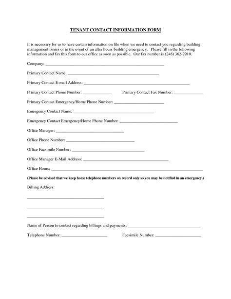 Update Contact Information Form Template by Best Photos Of Commercial Tenant Contact Sheet Tenant