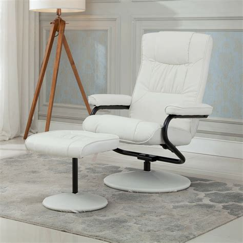 recliner chair swivel executive armchair lounge  ottoman footrest set white ebay
