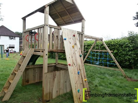 monkey bar swing combo ni single tower wooden climbing frame