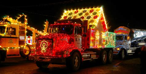 trucks decorated for christmas lighted truck parade birds of a feather b b