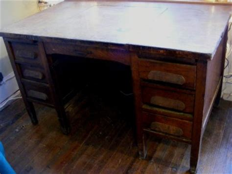 Antique Wood Executive Lg Heavy Desk By Imperial Desk Co Indiana Desk Company