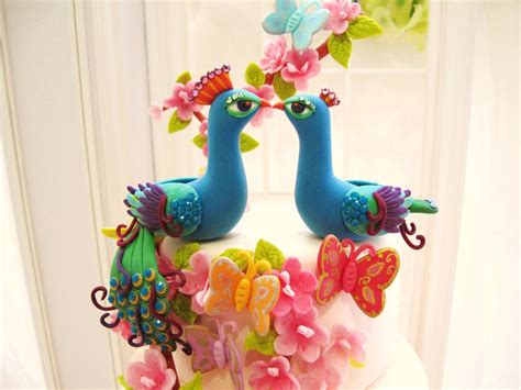 Handmade Wedding Cake Toppers - bright peacock wedding cake toppers onewed