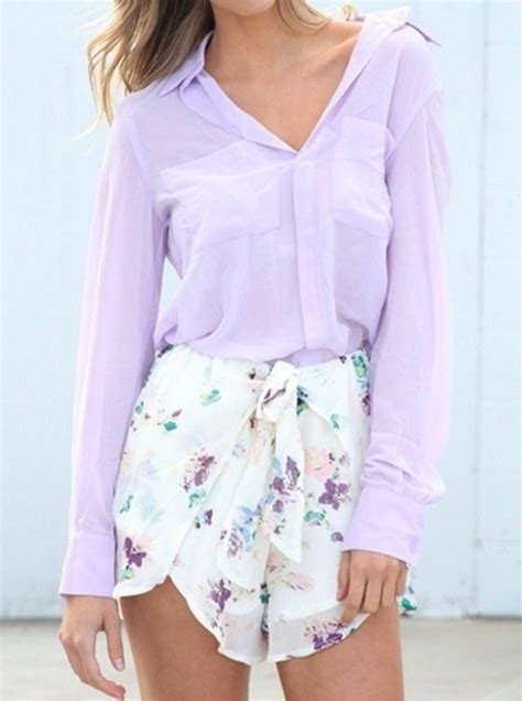 chiffon blouse lilac at gal