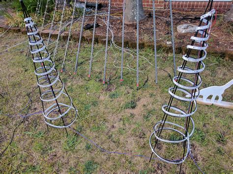 christmas trees from bunnings how i setup my lights arches canes small spiral trees and large spiral tree dual