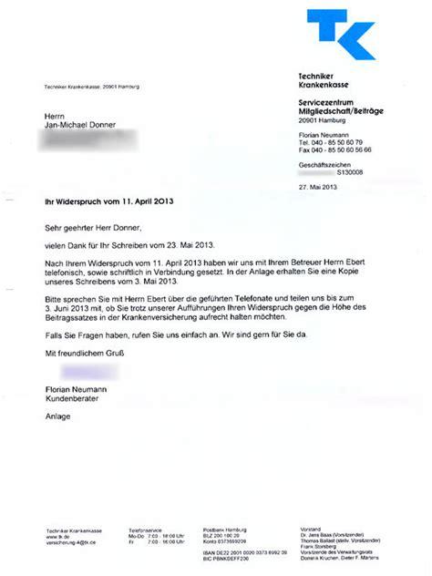 Anschreiben Mit Tk Adrebe Jan Donner Wortreich Krankekassen Tkk