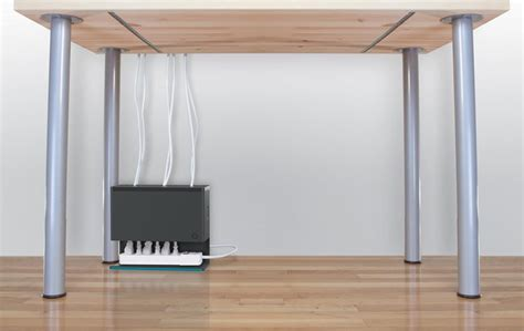 Plug Hub Organizes The Tangled Cables Under Computer Desk Cable Organizer Desk
