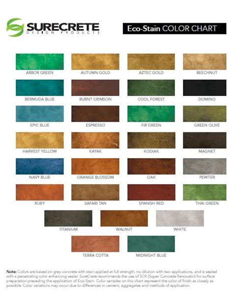 Surecrete Product Catalog Data Sheets Color Charts