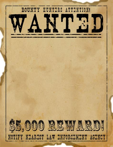 Free Scrapbook Graphics Wild West Wanted Poster Free Printable Wanted Poster