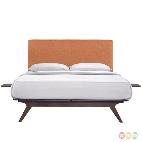 king platform bed tracy mid century upholstered king platform bed with