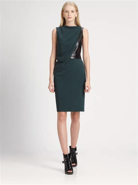 alexander wang draped dress alexander wang draped leather bodice dress in green