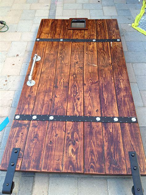 white diy barn door from 2x6 boards diy projects