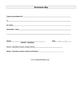 Permission Slip Permission Slip Template