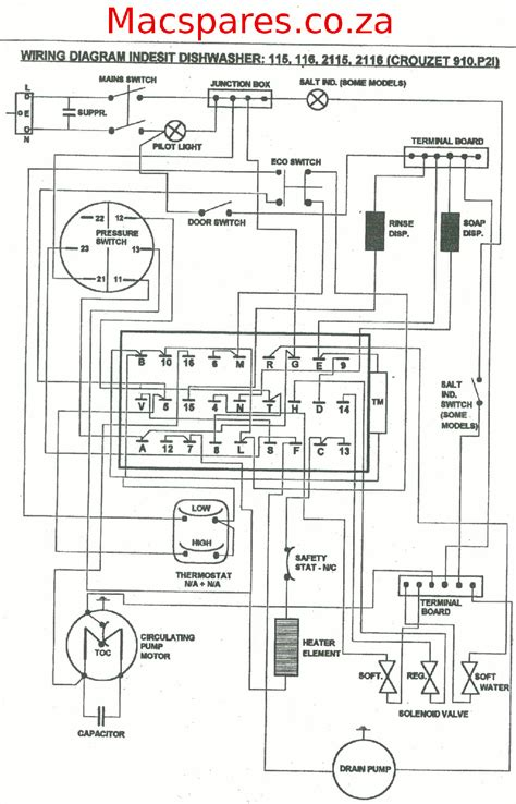 wiring diagram dishwashers macspares wholesale spare