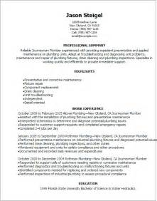 professional journeymen plumber resume templates to
