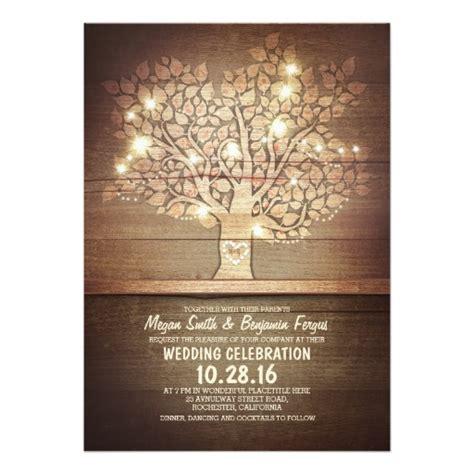 rustic tree card template string lights rustic tree wedding invitations zazzle