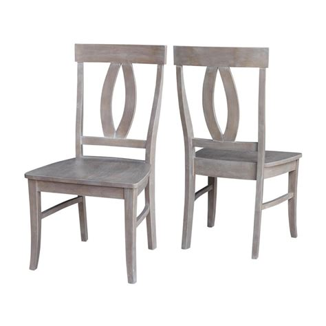 Grey Wood Dining Chairs International Concepts Verona Weathered Gray Wood Dining Chair Set Of 2 C09 170p The Home Depot
