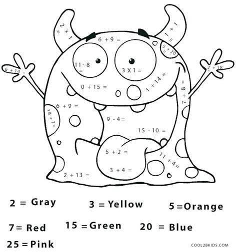 color by number math worksheets coloring pages math
