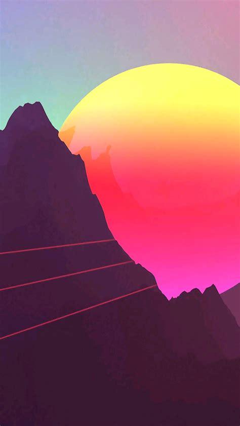 digital sunset mountain iphone wallpaper iphone wallpapers