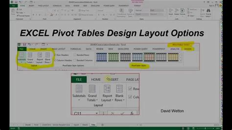layout excel tabelle excel pivot table design options youtube