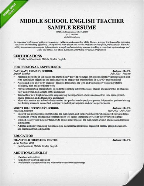 resume sle for teaching resume sles writing guide resume genius