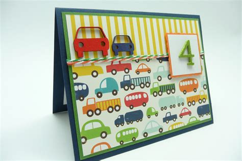 Handmade Birthday Cards For Boys - boy s 4th birthday card boy s fourth birthday car and