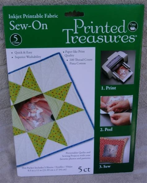 Printable Fabric Sew On Sheets | printed treasures 5 printable fabric sew on sheets new