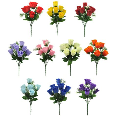 artificial silk flowers rose bud bunch 10 colours wedding