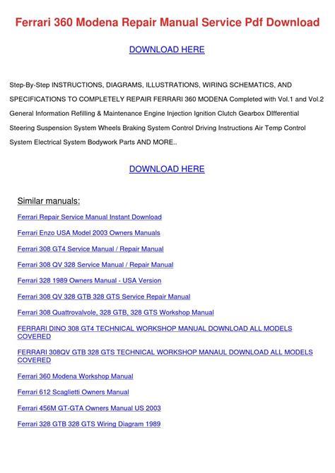 Ferrari 360 Modena Repair Manual Service Pdf By