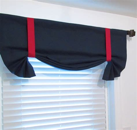 navy blue valance curtains nautical tie up valance solid navy red lined curtain