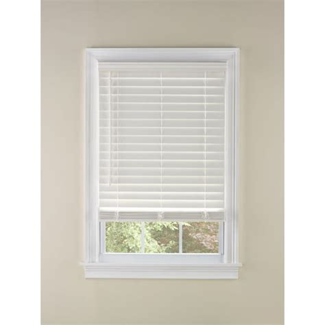 Faux Wood Window Blinds Shop Custom Size Now By Levolor White Faux Wood 2 375 In