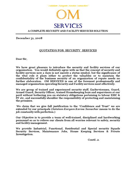 best price for service om services quotation doc security guard labour