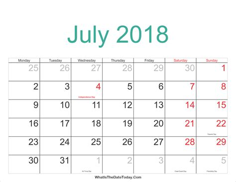 Calendar 90 Days From Today July 2018 Calendar With Holidays 2018 Yearly Calendar