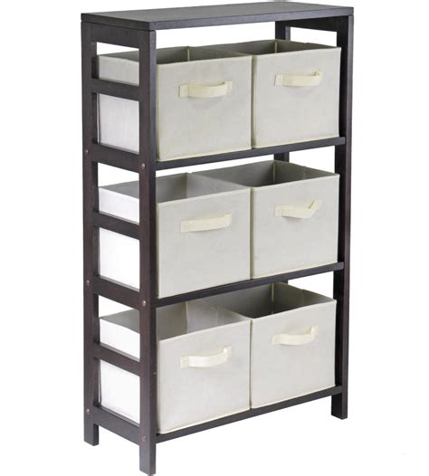 6 basket storage shelf in bookcases
