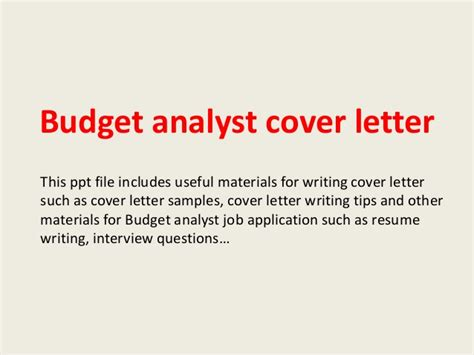 Budget Officer Cover Letter by Budget Analyst Cover Letter
