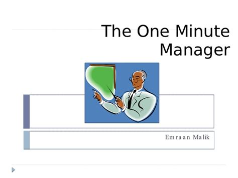 story of one minute manager