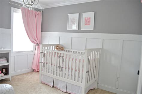 Wainscoting Baby Room by S Sweet Gray And Pink Nursery Project Nursery