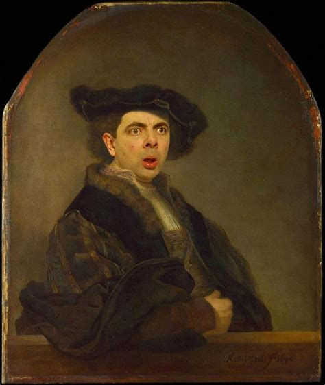 painting mr bean of a rembrandt self portrait appropriation