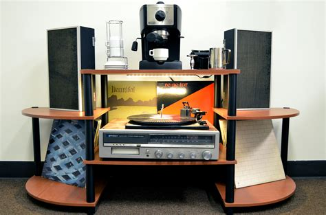 entertainment center fan kit 90 record player shelf records displayed on shelves