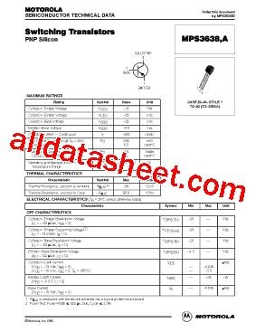 Transistor 3638 Transistor Mps3638a Pnp Transistor mps3638 datasheet pdf motorola inc