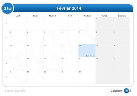 Calendrier Fevrier 2014 Calendrier F 233 Vrier 2014
