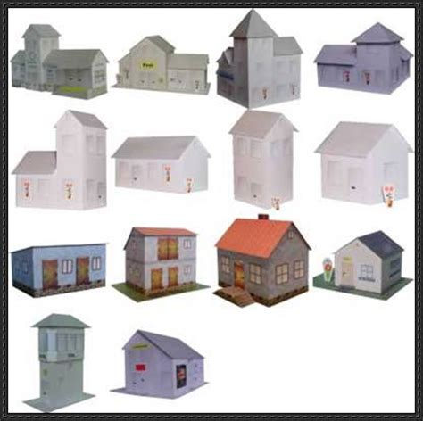these are 14 house papercraft from projekt bastelbogen