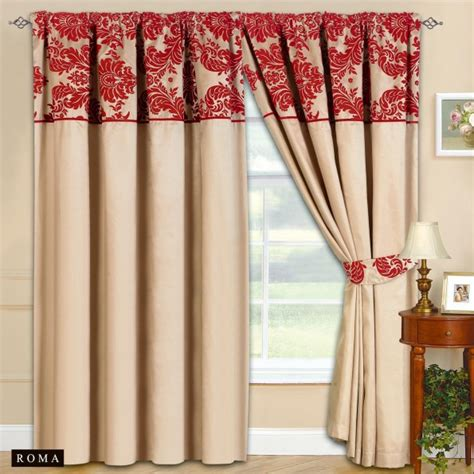 beige and red curtains new fully lined ready made tape top curtains beige with
