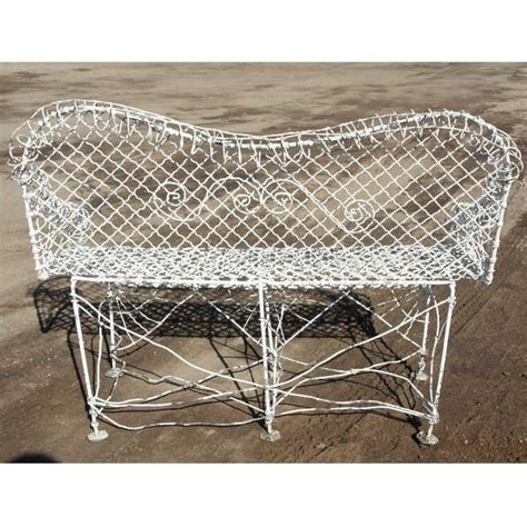 johnsons work bench small antique victorian white painted iron wire garden bench