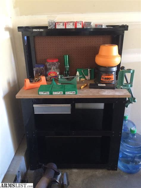 stack on bench armslist for sale reloading table and equipment